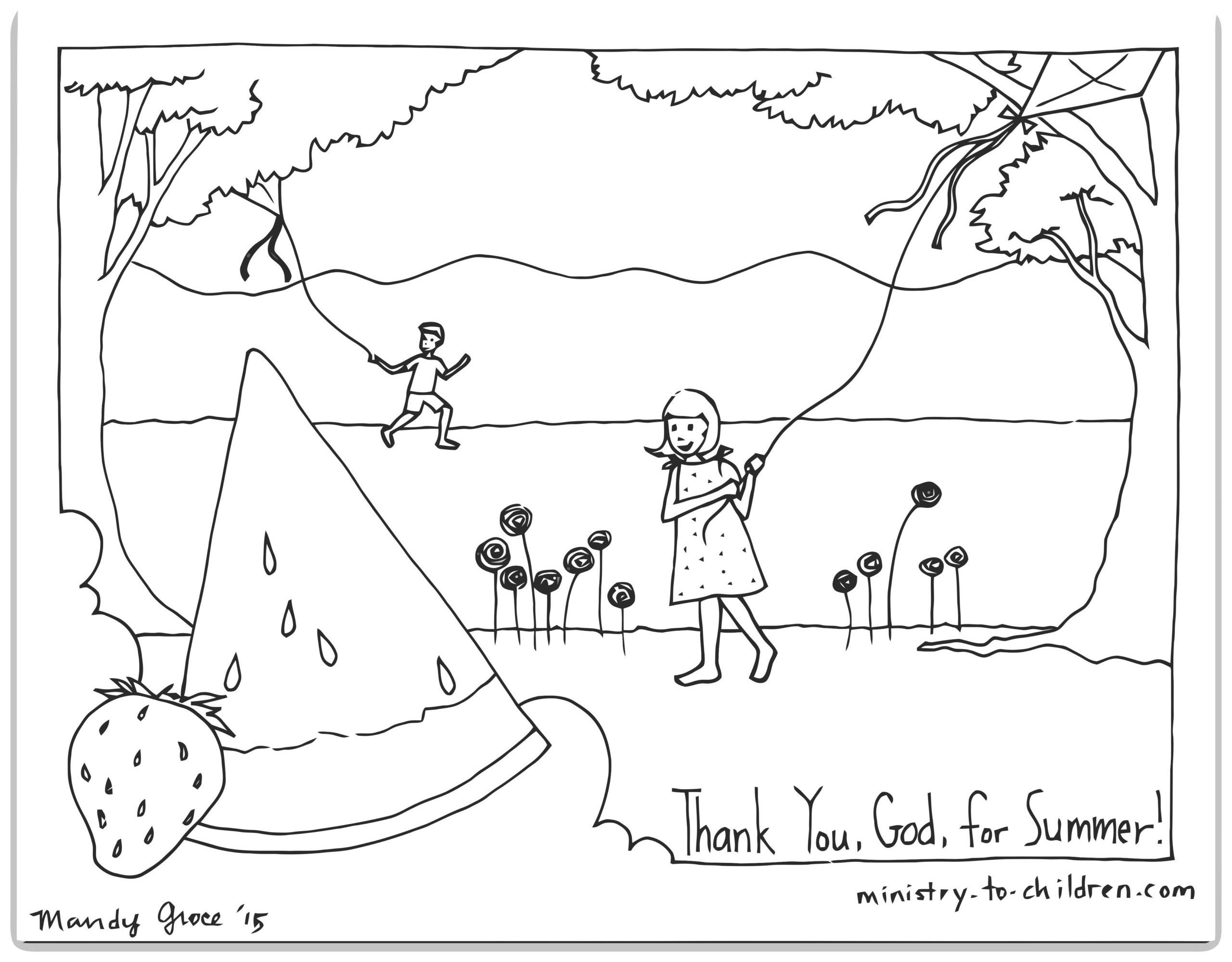 Thank You God For Summer Coloring Page Ministry To Children