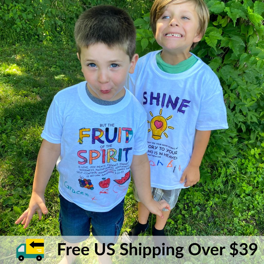 Kids Christian T-Shirts with Fruit of the Spirit. Available in favorite colors. See all products.