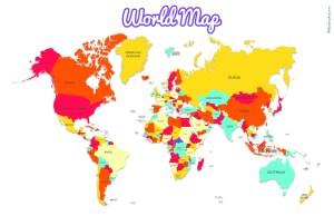World Map tabloid size