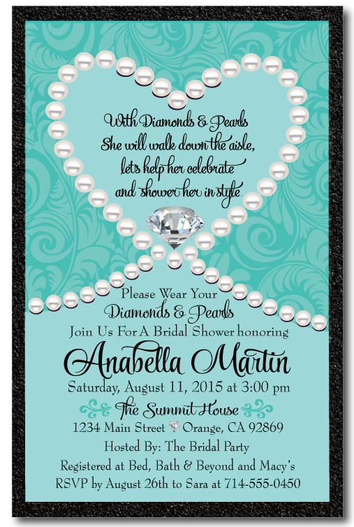 Diamonds Amp Pearls Tiffany Blue Bridal Shower Invitation