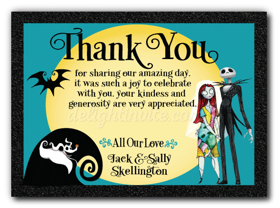 Nightmare Before Christmas Wedding Thank You Card DI