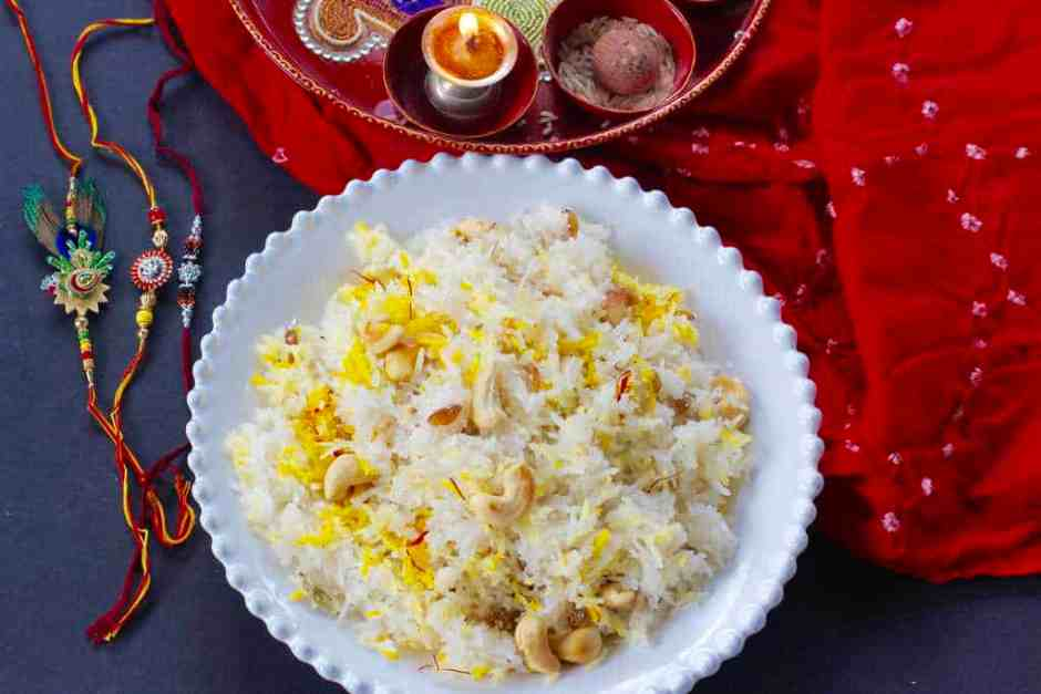 Narali bhath{sweet coconut rice}