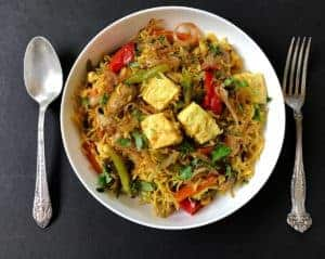 vegetable and paneer biryani