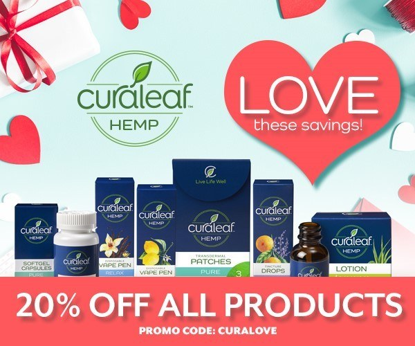 CuraLeaf Hemp Valentine's Day CBD Coupon