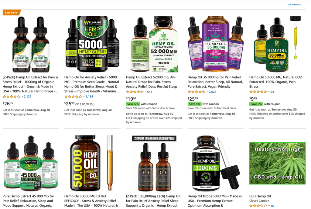 Screenshot showing various fake CBD products sold on Amazon in impossibly strong potency such as 25,000mg of CBD in a one ounce bottle.