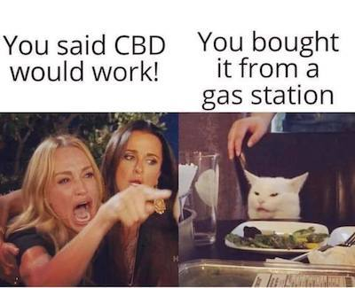 Angry Real Housewife & cat meme: Housewife: You said CBD would work. Cat: You bought it from a gas station.