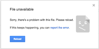 Google Docs: Sorry there's problem with this file Please reload