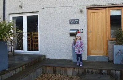 Arriving at the holiday cottage on a Winter break in Craster