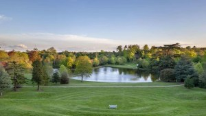 View from top of the grass Amphitheatre at Claremont Landscape Garden, Surrey