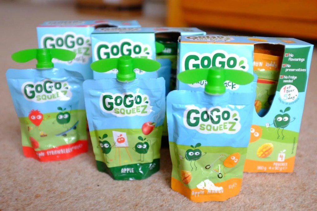 GoGo squeeZ fruit snacks in apple and strawberry, apple, and apple and mango