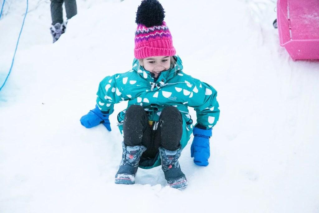 Tobogganing at Santa's Lapland