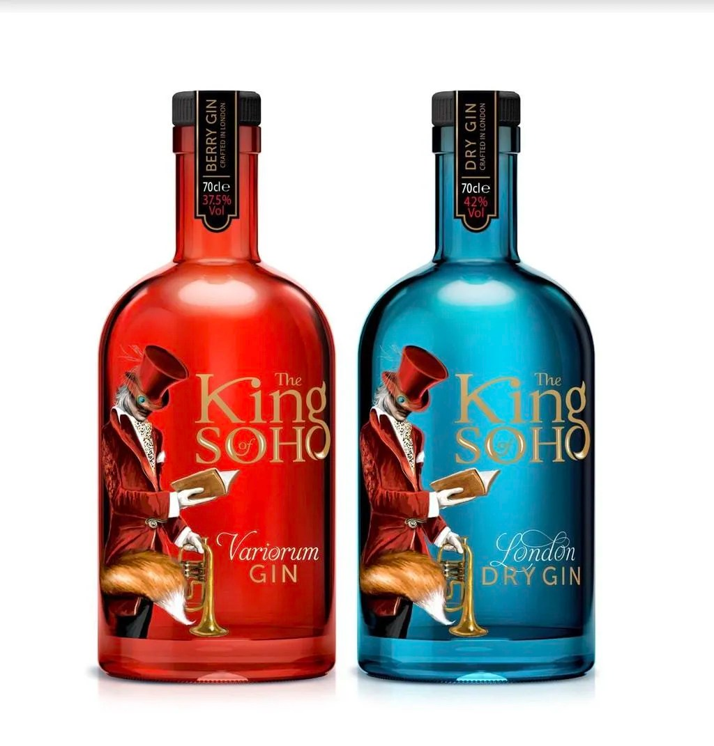 The King of Soho Variorum Gin, is a pink berry edition of the original London Dry; notes of fresh strawberry and floral chamomile perfectly complement the classic juniper and citrus flavours of the original recipe.  Crafted in the heart of London The King of Soho London Dry Gin is a super-premium bespoke gin that features no less than 12 botanicals including juniper, grapefruit peel, sweet orange, coriander, angelica root and cassia