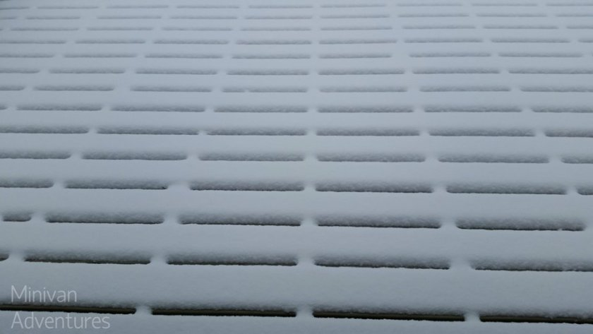 Here is the pretty snow pattern on our deck during the daytime hours.