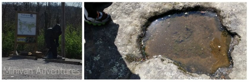 """After spotting a Big Foot statue near the entrance of the park, my middle child spent the rest of his time hunting for clues left behind by the mythical creature - clues like this """"Sasquatch foot print."""""""