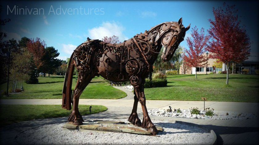 This horse sculpture titled J-Bolt and the Ghost Rider is one of 25 intriguing sculptures that can be found in the Harris Gardens.