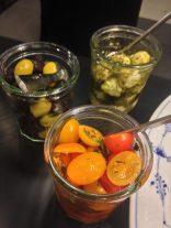 Tomater, oliven og mozzarella