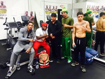 Antonio Johnson (in green) in training camp at Mayweather Gym in Las Vegas. Demetrius Andrade in grey and Ben Bautista (black hat), December 22, 2015.