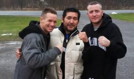 Jason Litzau, left, with trainer Jesse Garza and Donny Tierney