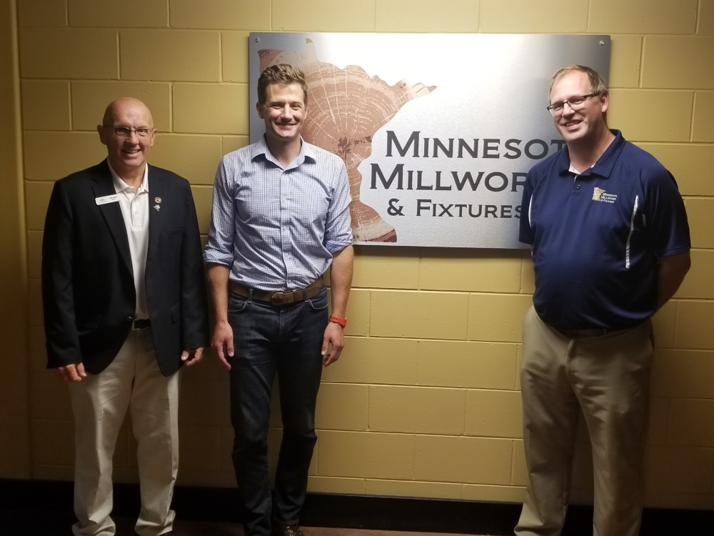 Lonsdale Mayor Tim Rudd, MN Deed Commissioner Steve Grove, and Minnesota Millwork & Fixtures owner Randall Rivers.