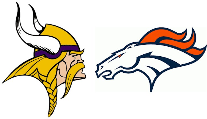 Graphic of Vikings and Broncos logos facing of