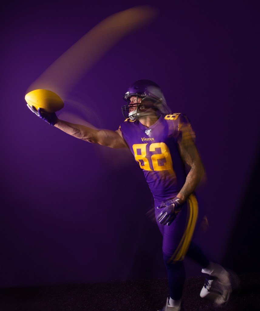 Photo: Kyle Rudolph wearing the Vikings Primetime Purple uniforms