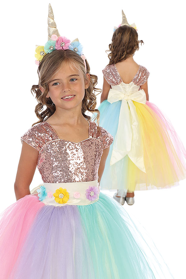 unicorn dress with sequins and rainbow dress