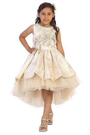 minniecouture dress with golden champagne damask fafric