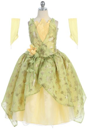 green and yellow princess dress