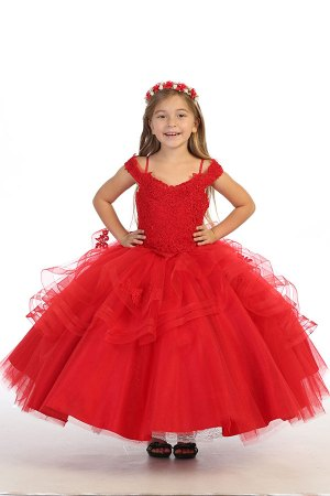 Red Tulle ruffled dress for mini quinceanera, Flower girl ballgown dress