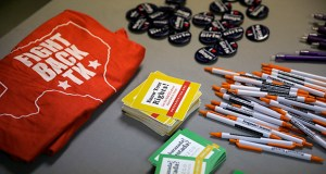 Pins, pens and T-shirts were given away during a tour and event at Whole Woman's Health of San Antonio on Feb. 9, 2016. Last June, a Supreme Court ruling in Women's Health v. Hellerstedt struck down a Texas law that forced abortion clinics to close unless they qualified as ambulatory care centers. But now, almost a year later, only two of the clinics closed by the law have reopened. (AP file photo)