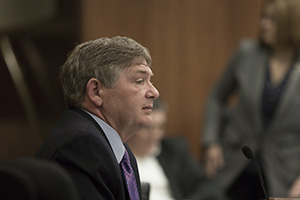 House Public Safety committee chair Brian Johnson, R-Cambridge, testifies March 15 on behalf of House File 2855, his own bill to limit the effects of the Amelioration Doctrine in criminal sentencing. (Staff photo: Kevin Featherly)