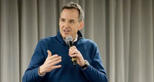 Former Gov. Tim Pawlenty spoke at a Minnesota Precision Manufacturing Association event in February. He is seeking the Republican nomination to get his old job back. (Staff photo: Matt Johnson)