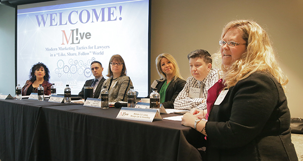 Like, Share, Follow panelists were, from left, Terrie Wheeler, Professional Services Marketing; Michael Boulette, Barnes & Thornberg; Amy Mahowald, Office of Lawyers Professional Responsibility; Kristin Rowell, Anthony Ostlund Baer & Louwagie; Davis Senseman, Davis Law Office; and Michele Lange, MLange Law & Consulting. (Staff photo: Bill Klotz)