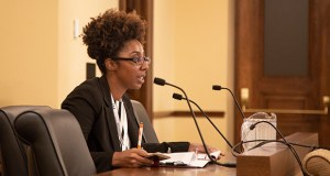 Jasmine Carey, legislative coordinator at the Council for Minnesotans of African Heritage, testifies before the Sentencing Guidelines Commission at its Sept. 13 hearing. (Staff photo: Kevin Featherly)