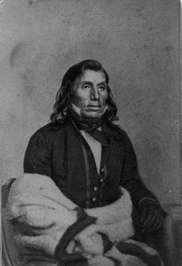 """The Mdewakanton leader Ta Oyate Duta (His Red Nation, also known as Little Crow) once praised Taliaferro for his candor, telling him there was """"no sugar in your mouth."""" (Submitted image: Library of Congress)"""