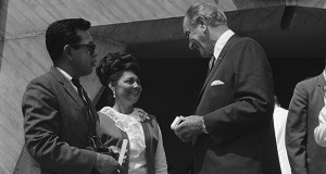 The 1968 Fair Housing Act legislatively barred restrictive covenants in housing. In this photo, President Lyndon B. Johnson presents a souvenir pen to Mr. and Mrs. Lupe Arzola after signing the act Aug. 1, 1968, in Washington. The couple were residents of the oldest federally subsidized public housing project in Austin, Texas. (AP file photo)