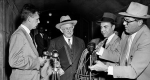 President Donald Trump's emergency declaration isn't the first to face a court challenge. In this photo, U.S. District Judge David A. Pine carries a briefcase under his arm as he leaves court April 29, 1952, in Washington after branding President Harry Truman's seizure of steel mills illegal. He declined to make a statement to reporters. The U.S. Supreme Court eventually upheld Pine's finding in a ruling on June 2, 1952. (AP file photo)