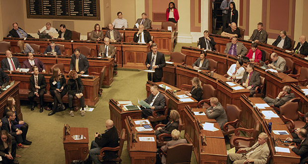 House Minority Leader Kurt Daudt, R-Crown (standing, center of frame) gives a speech on the House floor on Feb. 21. (Staff photo: Kevin Featherly)