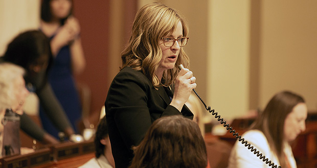 """Rep. Kelly Moller is the author of House File 10, which is sexual harassment legislation that would do away with the """"severe or pervasive"""" courtroom standard. (File photo)"""