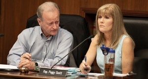 Sen. Warren Limmer, R-Maple Grove (left) and Rep. Peggy Scott, R-Andover, attend a June 2018 meeting of the Legislative Commission on Data Practices. (File photo: Kevin Featherly)