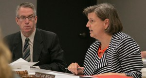 Minnesota Sentencing Guidelines Commission Chair Kelly Lyn Mitchell speaks during last week's meeting. Commission Executive Director Nate Reitz is at left. (Staff photo: Kevin Featherly)