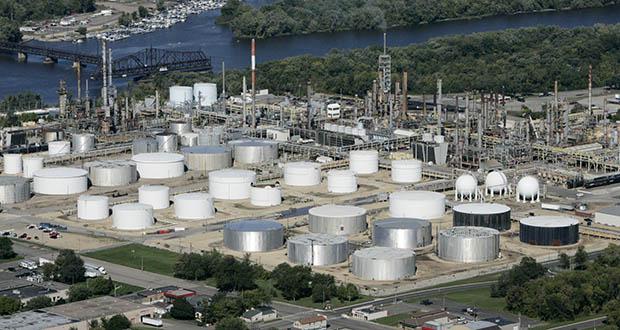 This 2005 aerial photo shows the Marathon Petroleum Co. refinery in St. Paul Park. (AP file photo)