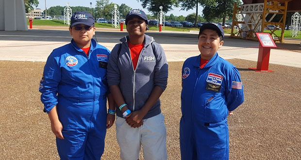 Submitted photo: Luke Frelix, Baruch Jones and Jason Urgiles Vasquez were sent to Space Camp on scholarships from the Fish & Richardson law firm.