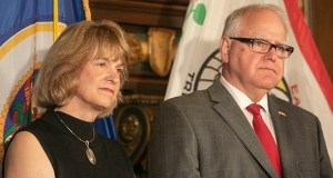 Gov. Tim Walz, right, introduced new DHS Commissioner Jodi Harpstead on Monday. Harpstead takes over on Sept. 3. (Staff photo: Kevin Featherly)