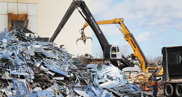 The Northern Metal Recycling site at 2800 Pacific St. N. in Minneapolis is one of a handful of privately owned parcels along the Mississippi River north of the Plymouth Avenue Bridge. (File photo: Bill Klotz)