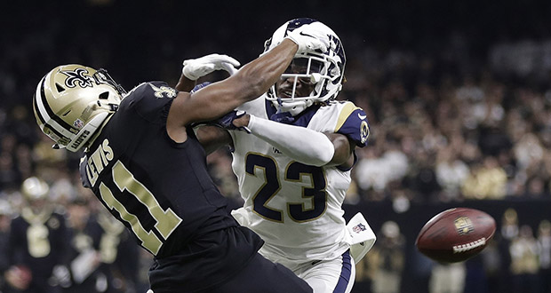 In this Jan. 20 photo, Los Angeles Rams' Nickell Robey-Coleman breaks up a pass intended for New Orleans Saints' Tommylee Lewis during the second half of the NFL football NFC championship game in New Orleans. (AP file photo)