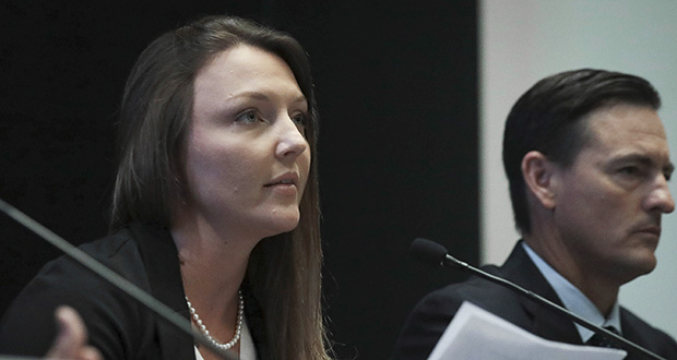 In this July 16 photo, Courtney Wild, left, joined by her attorney Brad Edwards, reads a statement during a news conference in New York calling on victims of Jeffrey Epstein to contact the FBI or lawyers with their information. (AP file photo)