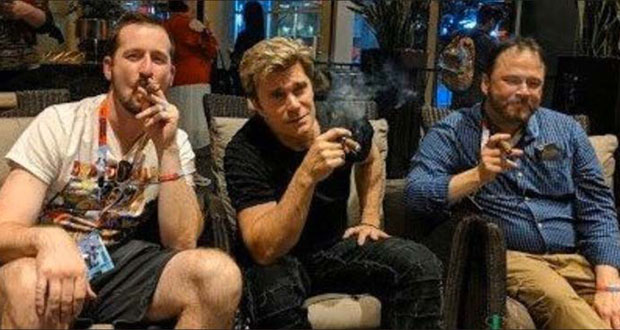 Minnesota attorney Nick Rekieta, left; voice actor Vic Mignogna, center; and Texas attorney Ty Beard pause for a cigar break at Houston's Anime Matsuri convention in mid-July. (Submitted photo)