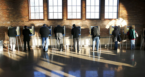 In this April 5, 2016, file photo, Wisconsin voters cast their ballots in the state's primary at the South Shore Park Pavilion in Milwaukee. (AP Photo/Charles Rex Arbogast, File)