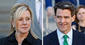 """This combination of March 2017 file photos shows Bridget Kelly, left, and Bill Baroni leaving federal court after sentencing in Newark, N.J. The U.S. Supreme Court will hear arguments Tuesday on whether to throw out the convictions of the two former aides to former Republican Gov. Chris Christie in New Jersey's """"Bridgegate"""" case. (AP file photos)"""